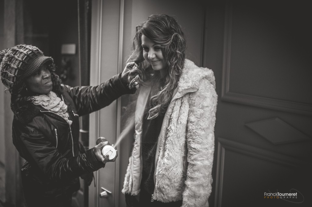 Romance et Cigarettes Coulisses du shooting par Franck Tourneret avec Sylvie Noyer à la coiffure et Morgane Allichon