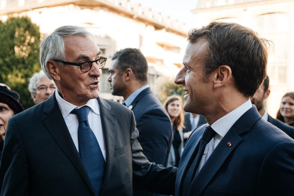 Jean-François Rousset et Emmanuel Macron à Rodez © Franck Tourneret